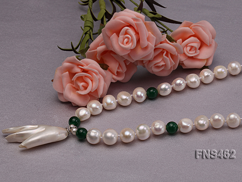 Freshwater cultured 8-9mm natural white pearl necklace with pendant big Image 4