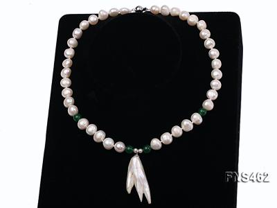 Freshwater cultured 8-9mm natural white pearl necklace with pendant FNS462 Image 3