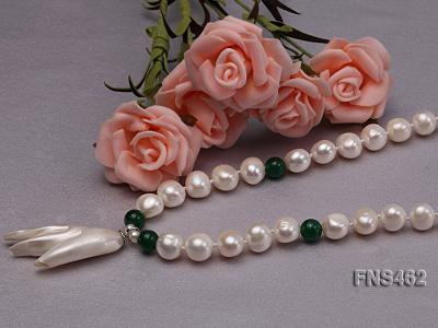 Freshwater cultured 8-9mm natural white pearl necklace with pendant FNS462 Image 4