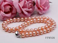 Classic 10-11mm Pink Flat Cultured Freshwater Pearl Necklace FPN136