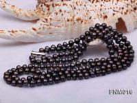 2 strand flatly black freshwater pearl necklace FNM016