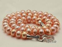 Classic 9-10mm AAA Pink Flat Cultured Freshwater Pearl Necklace FPN140