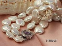 12-13mm White Coin Freshwater Pearl Necklace FNM066