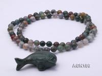 Moss Agate Opera Necklace with Dolphin Pendant AGN186