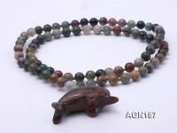 Moss Agate Opera Necklace with Dolphin Pendant AGN187