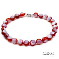 14mm red with cream overtone round agate necklace AGN114