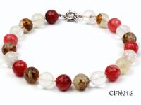 18mm Round Faceted Cherry Quartz Crystal and Tiger-Eye Stone Necklace CFN018