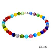 14mm Colorful Round Faceted Cat's Eye Beads Necklace  CEN032