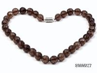 12mm Round Faceted Smoky Quartz Beads Necklace SMN027