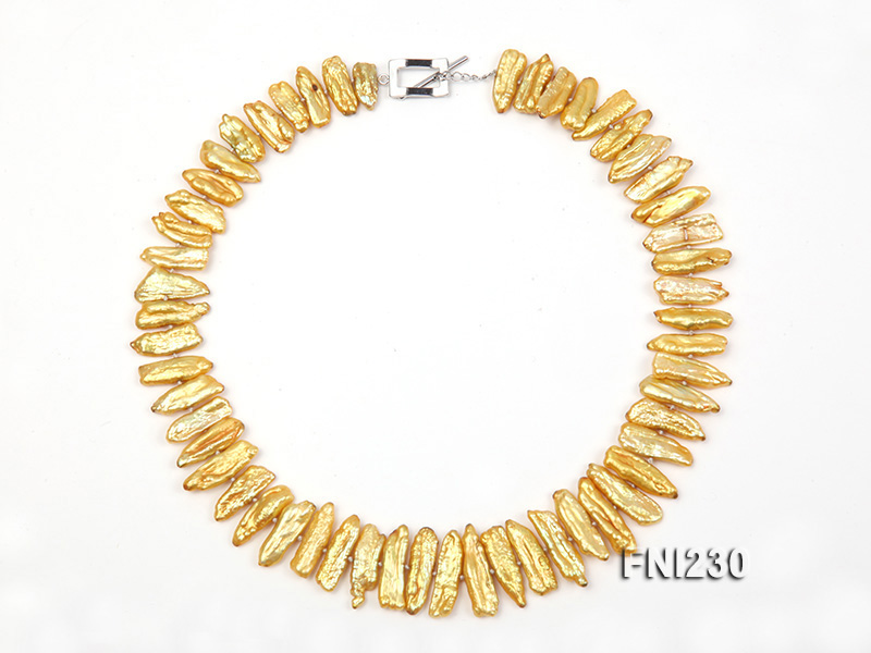 Classic 7x20mm Yellow Freshwater Pearl Sticks Necklace big Image 4