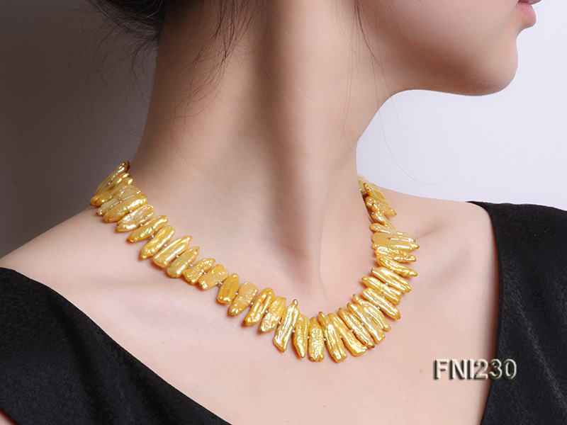Classic 7x20mm Yellow Freshwater Pearl Sticks Necklace big Image 7