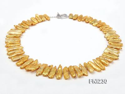 Classic 7x20mm Yellow Freshwater Pearl Sticks Necklace FNI230 Image 1
