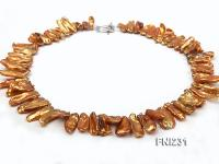 Classic 9x20mm Golden Brown Baroque Freshwater Pearl Necklace FNI231