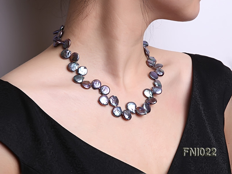 Classic 12.5x14mm Black Button Freshwater Pearl Necklace big Image 8