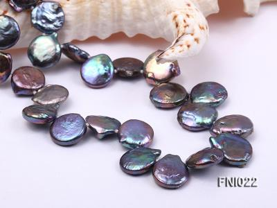 Classic 12.5x14mm Black Button Freshwater Pearl Necklace FNI022 Image 2