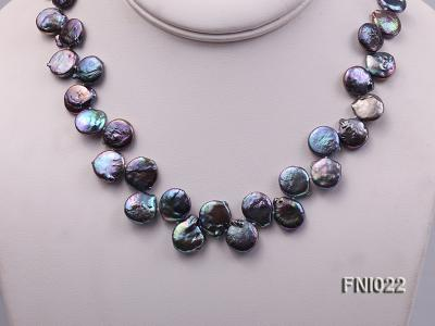 Classic 12.5x14mm Black Button Freshwater Pearl Necklace FNI022 Image 7