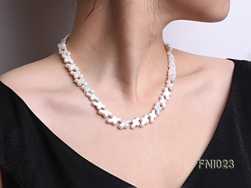 Classic 10x15.5mm White Cross-shaped Freshwater Pearl Necklace big Image 11