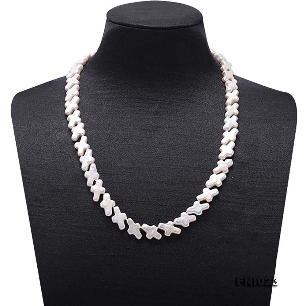 Classic 10x15.5mm White Cross-shaped Freshwater Pearl Necklace big Image 2