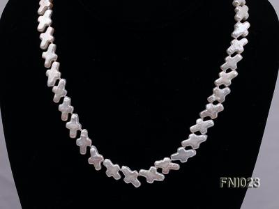 Classic 10x15.5mm White Cross-shaped Freshwater Pearl Necklace FNI023 Image 9