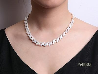 Classic 10x15.5mm White Cross-shaped Freshwater Pearl Necklace FNI023 Image 10