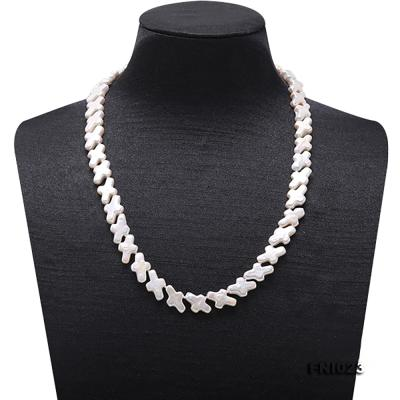 Classic 10x15.5mm White Cross-shaped Freshwater Pearl Necklace FNI023 Image 2