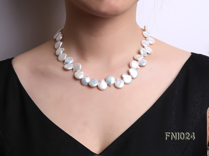 Classic 12x16-13x16.5mm White Button-shaped Freshwater Pearl Necklace big Image 7