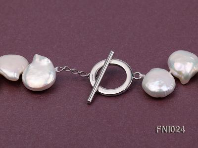 Classic 12x16-13x16.5mm White Button-shaped Freshwater Pearl Necklace FNI024 Image 4