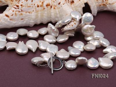Classic 12x16-13x16.5mm White Button-shaped Freshwater Pearl Necklace FNI024 Image 5