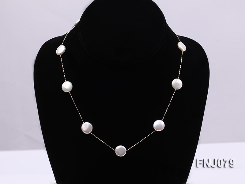 11.5mm White Button Pearl Station Necklace with a Gold Chain big Image 1