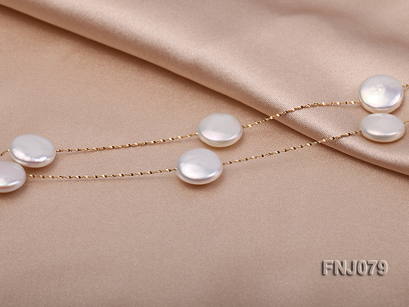11.5mm White Button Pearl Station Necklace with a Gold Chain big Image 2
