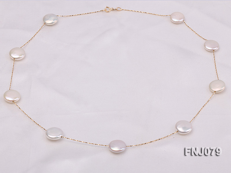 11.5mm White Button Pearl Station Necklace with a Gold Chain big Image 4