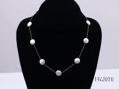 11.5mm White Button Pearl Station Necklace with a Gold Chain FNJ079 Image 1