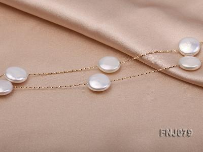 11.5mm White Button Pearl Station Necklace with a Gold Chain FNJ079 Image 2