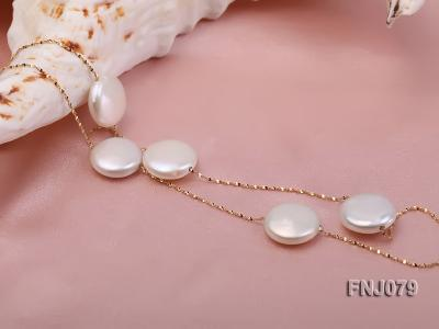 11.5mm White Button Pearl Station Necklace with a Gold Chain FNJ079 Image 3