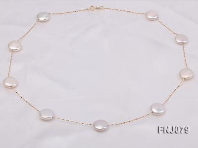 11.5mm White Button Pearl Station Necklace with a Gold Chain FNJ079 Image 4