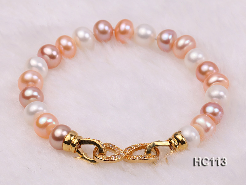 8-9mm flat white pink and lavender freshwater pearl bracelet big Image 4