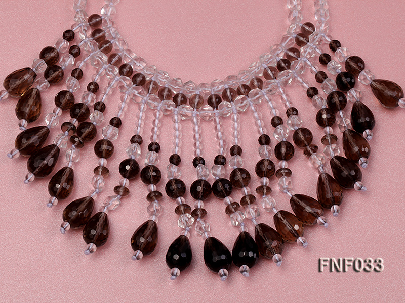 Fashionable Rock Crystal Quartz and Tea-colored Crystal Quartz Necklace big Image 3