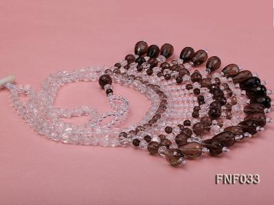 Fashionable Rock Crystal Quartz and Tea-colored Crystal Quartz Necklace FNF033 Image 1