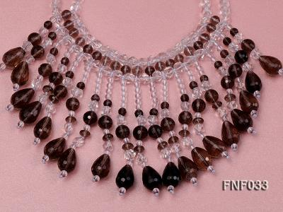 Fashionable Rock Crystal Quartz and Tea-colored Crystal Quartz Necklace FNF033 Image 3
