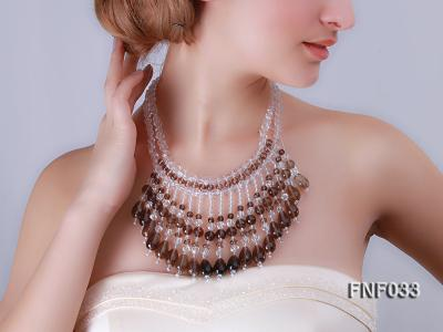Fashionable Rock Crystal Quartz and Tea-colored Crystal Quartz Necklace FNF033 Image 8