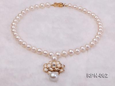 Classic 10mm White Cultured Freshwater Pearl Necklace with a Big-size Pearl Pendant RPN-062 Image 4