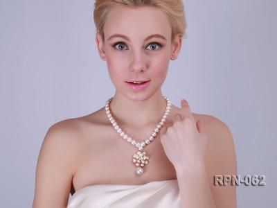Classic 10mm White Cultured Freshwater Pearl Necklace with a Big-size Pearl Pendant RPN-062 Image 1