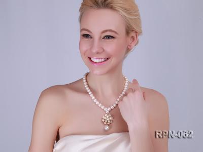 Classic 10mm White Cultured Freshwater Pearl Necklace with a Big-size Pearl Pendant RPN-062 Image 2