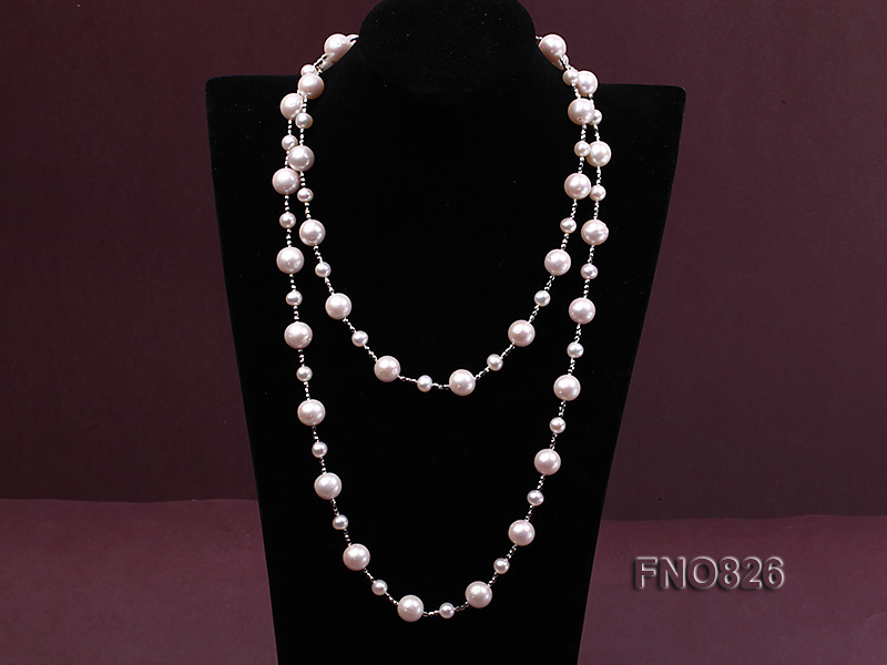 Extraordinary 46-inch White Pearl necklace big Image 3