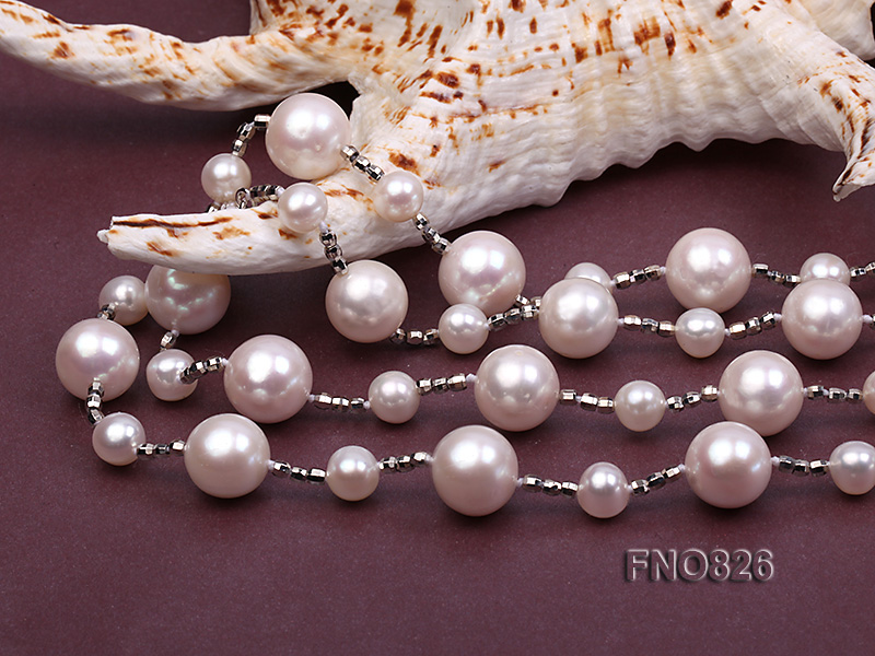 Extraordinary 46-inch White Pearl necklace big Image 6
