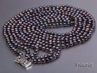 5 strand 6-7mm black round freshwater pearl necklace FNM040