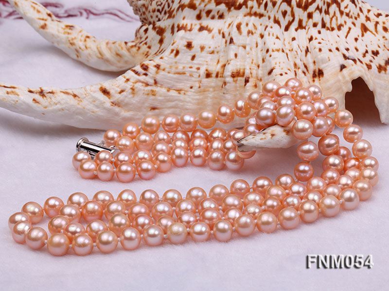 2 strand  pink freshwater pearl necklace big Image 4