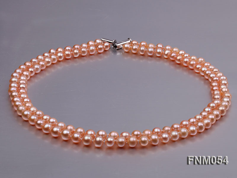2 strand  pink freshwater pearl necklace big Image 6