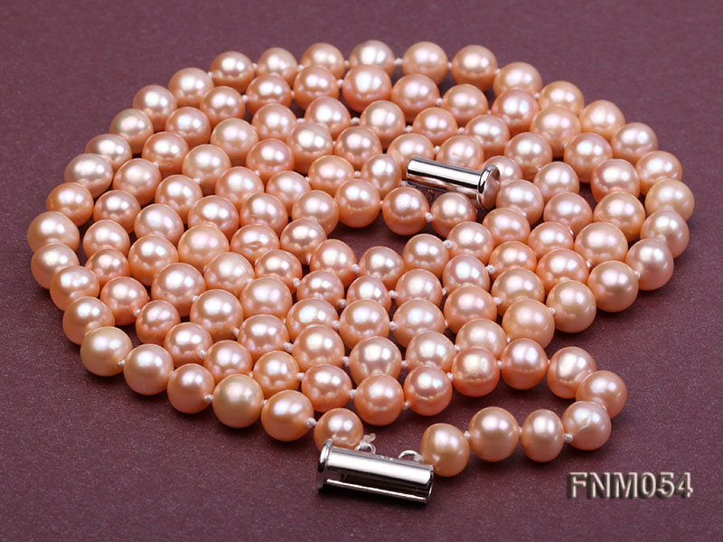 2 strand  pink freshwater pearl necklace big Image 7