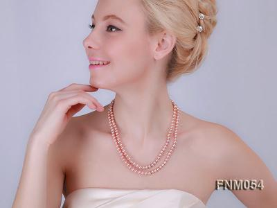 2 strand  pink freshwater pearl necklace FNM054 Image 2